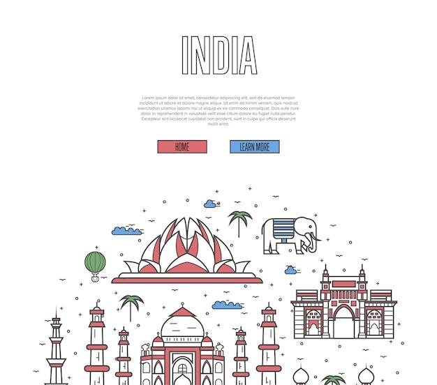 直線的なスタイルのインド旅行ツアーのウェブページ Premiumベクター