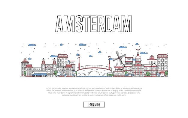 直線的なスタイルで旅行アムステルダムのウェブページ Premiumベクター