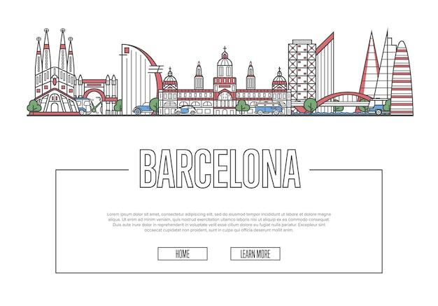 直線的なスタイルで旅行バルセロナのウェブページ Premiumベクター