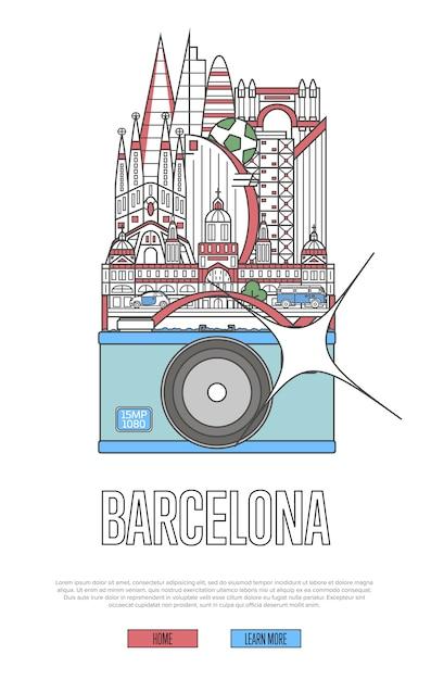 カメラで旅行バルセロナのウェブページ Premiumベクター