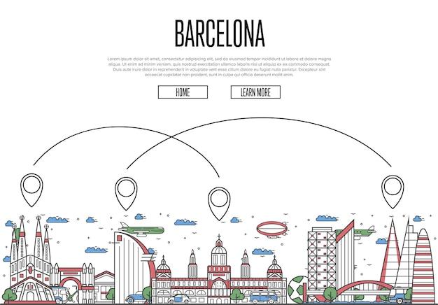 直線的なスタイルのバルセロナのウェブページへの空の旅 Premiumベクター