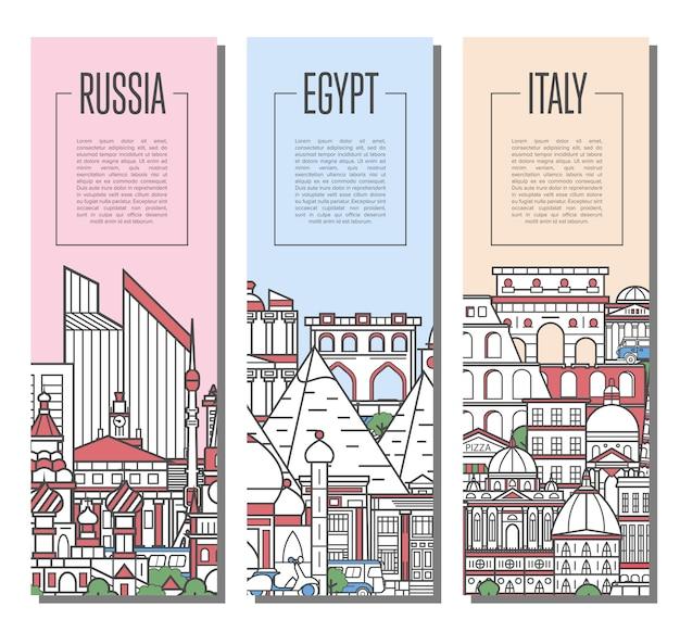 Мир путешествующих тур баннеров в линейном стиле Premium векторы