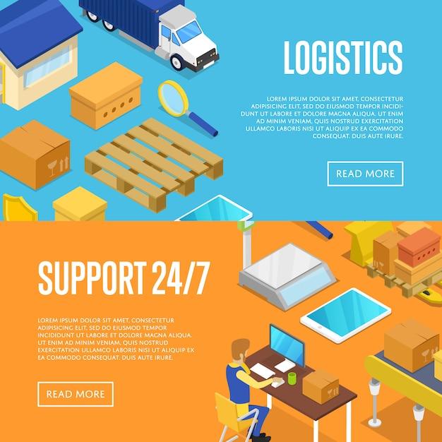 Круглосуточная поддержка доставки и складской логистики Premium векторы