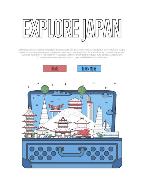 開いたスーツケースで日本のポスターを探索する Premiumベクター