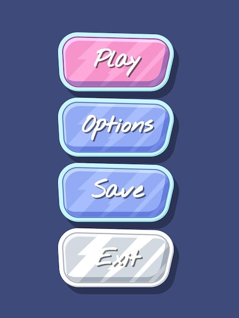 Глянцевый красочный набор интерфейса меню компьютерной игры Premium векторы