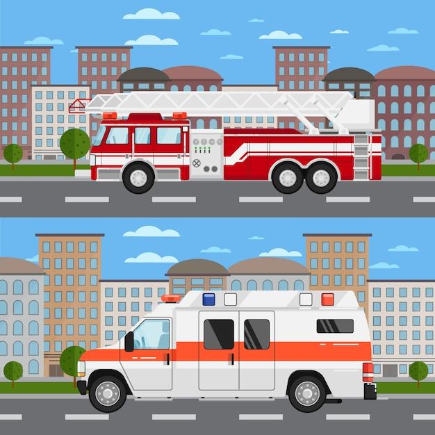 Пожарная машина и машина скорой помощи в городской пейзаж Premium векторы