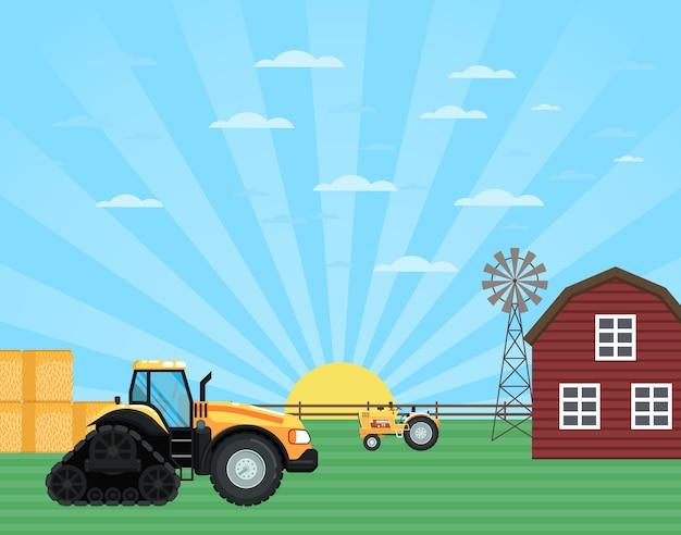 農地景観における農作業 Premiumベクター