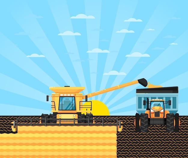 穀物畑の農業用コンバイン Premiumベクター