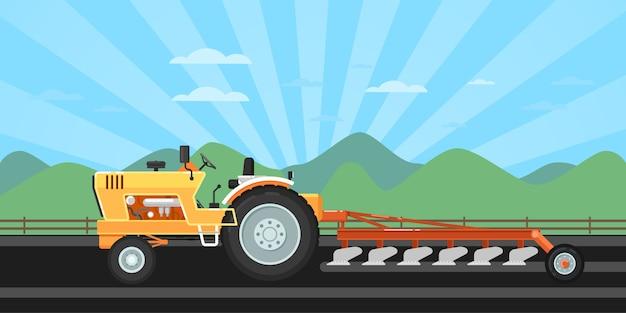 播種用トラクター耕起機 Premiumベクター