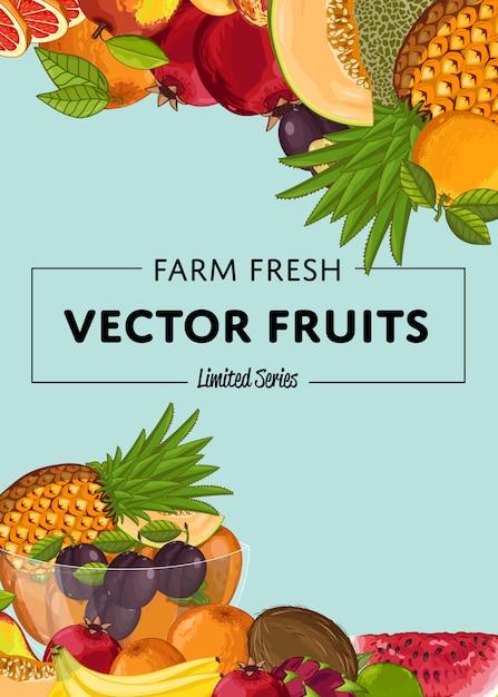 Баннер из свежих органических фруктов Premium векторы