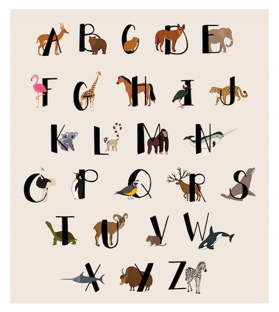 子供のためのかわいい動物アルファベットセット Premiumベクター