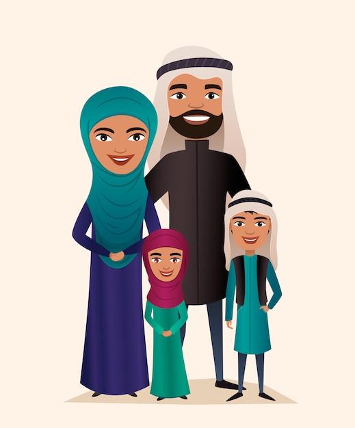 Счастливая пара арабских семей с детьми Premium векторы