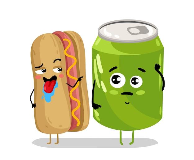 Забавный хот-дог с содовой может мультипликационный персонаж Premium векторы