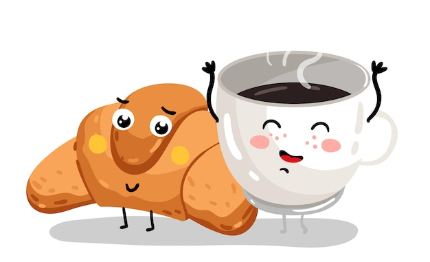 面白いクロワッサンとコーヒーカップの漫画のキャラクター Premiumベクター