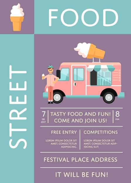 Плакат-приглашение на фестиваль еды с тележкой для мороженого Premium векторы