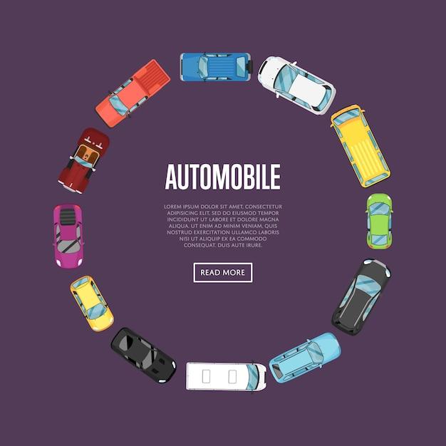 トップビュー車と自動車のバナー Premiumベクター