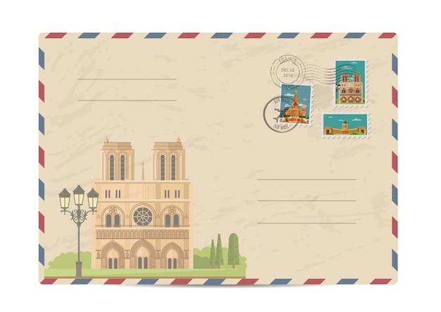 Старинный почтовый конверт с марками Premium векторы