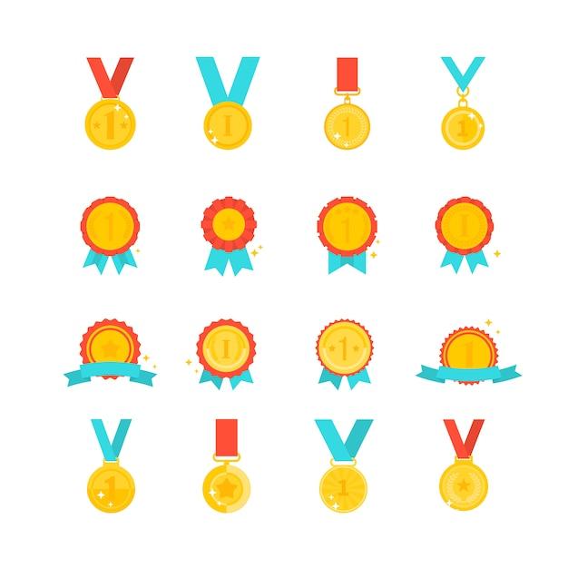 Золотая медаль Premium векторы