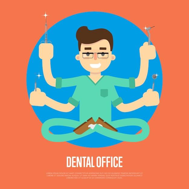 男性歯科医と歯科医院のバナー Premiumベクター