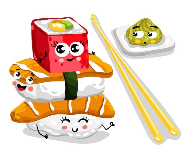 Смешные суши и сашими установлены мультипликационный персонаж Premium векторы