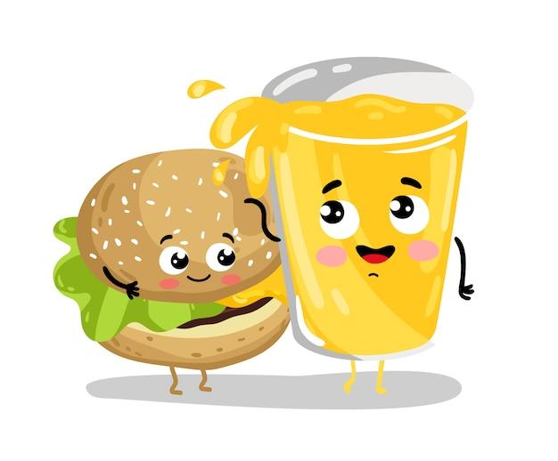 面白いハンバーガーとレモネードの漫画のキャラクター Premiumベクター