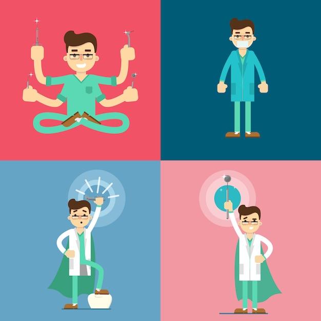 Набор персонажей мультфильма мужской стоматолог Premium векторы