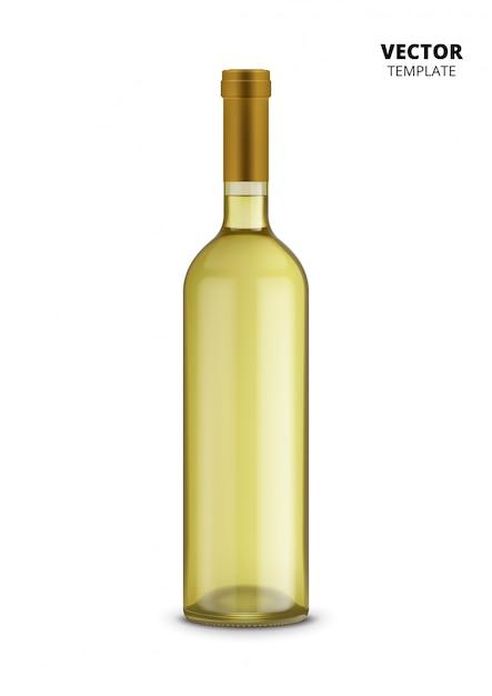 白で隔離されるワインの瓶 Premiumベクター