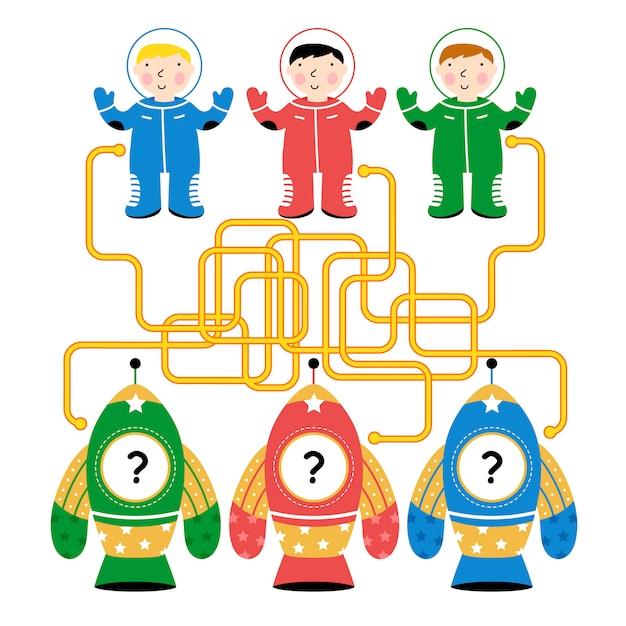 Лабиринт, логическая игра для детей Premium векторы