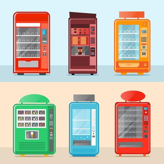 フラットデザインの自動販売機セット Premiumベクター