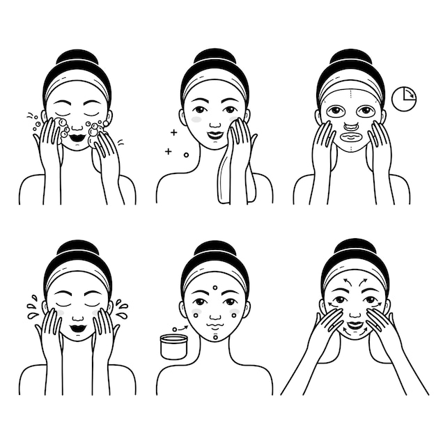 女の子と顔のスキンケアベクトルを設定 Premiumベクター