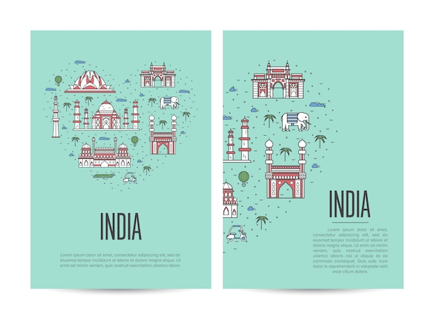 直線的なスタイルで設定されたインド旅行ツアー小冊子 Premiumベクター