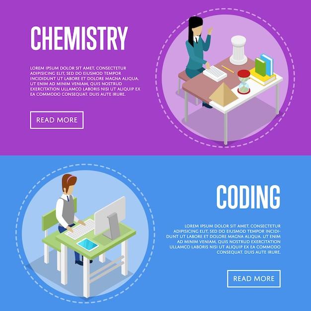 Изучение химии и информатики в школе Premium векторы