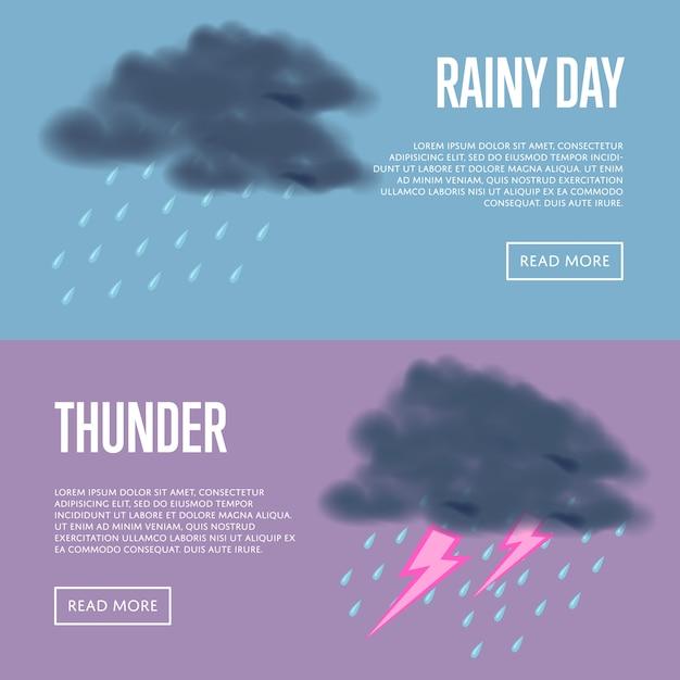 Дождливый день и гром с баннерами молнии Premium векторы