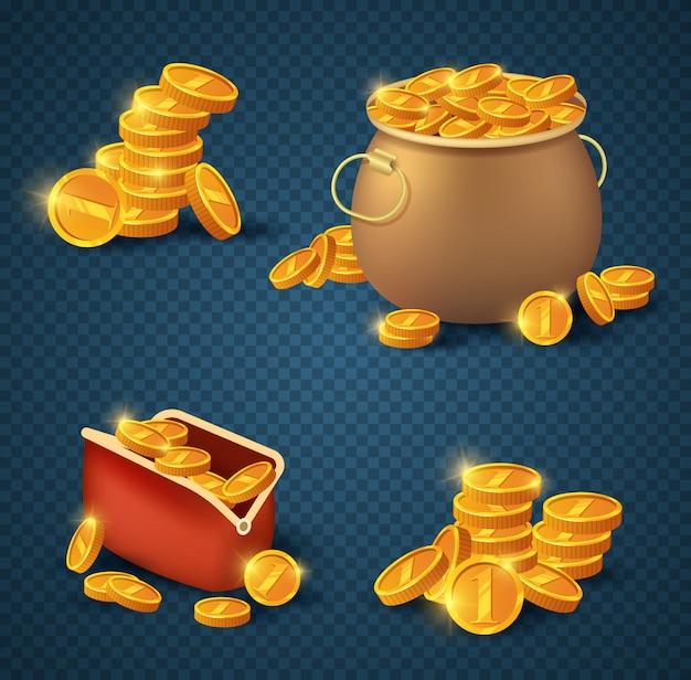 Золотые монеты в старом бронзовом горшке и кошелек на прозрачном Premium векторы