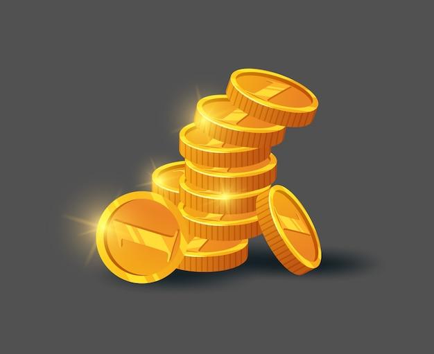 Стек блестящих золотых монет на сером Premium векторы