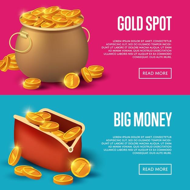 Золотое пятно и банер с большими деньгами Premium векторы