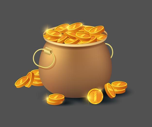 Золотые монеты в старом бронзовом горшке Premium векторы
