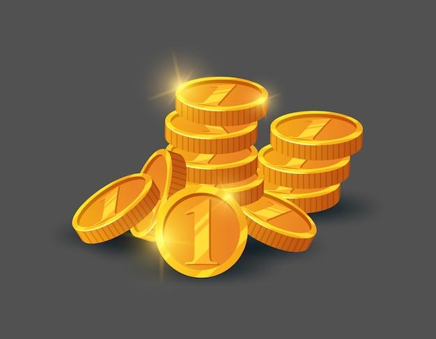 Куча блестящих золотых монет Premium векторы