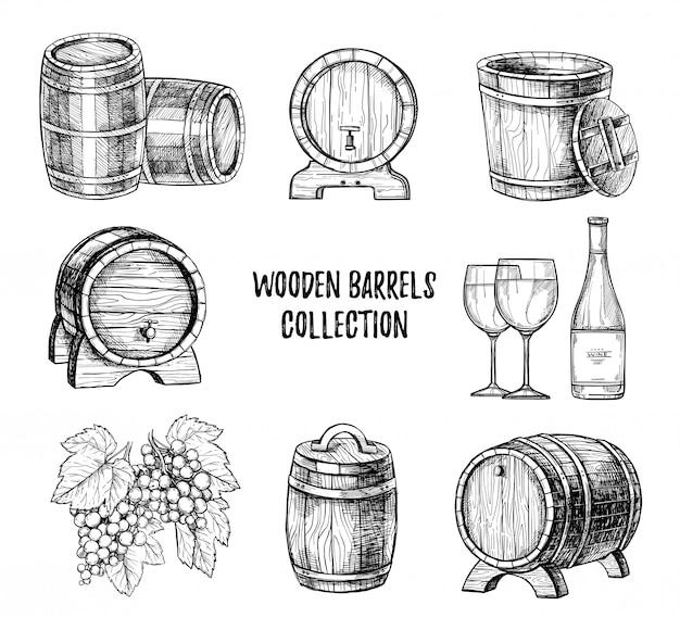 木製ワイン樽手描きの背景セット Premiumベクター