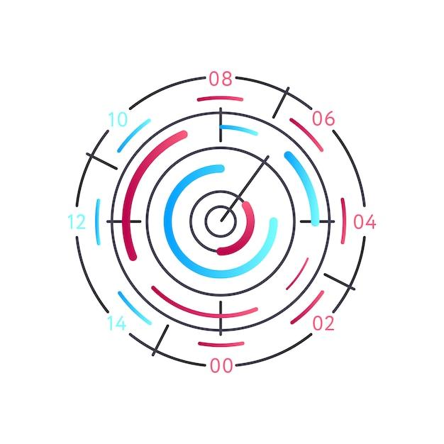 Анализ круглый рисунок на белом Premium векторы