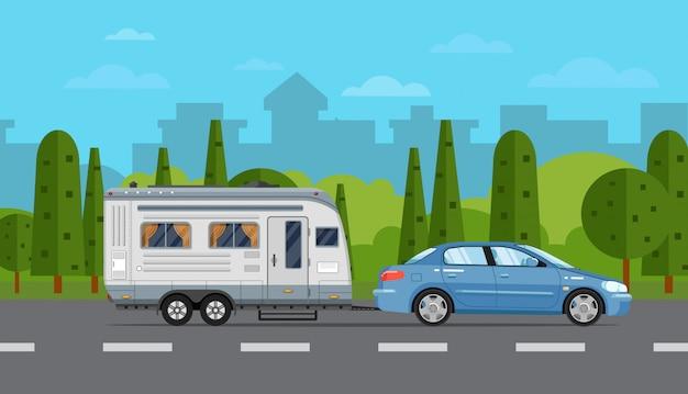 車とトレーラーの道路旅行チラシ Premiumベクター