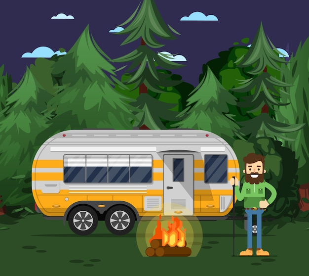 トラベルトレーラーと観光キャンプチラシ Premiumベクター