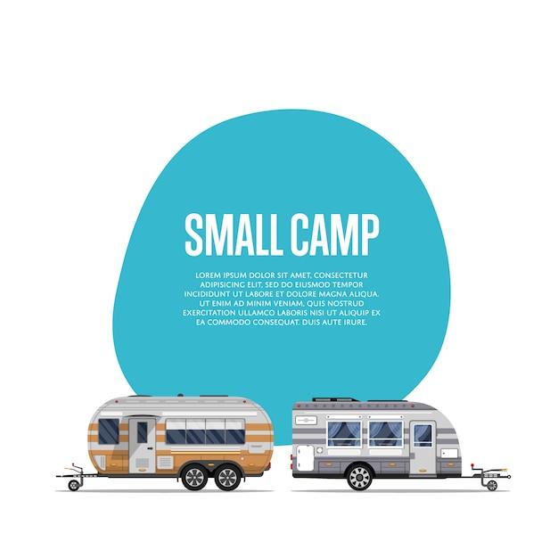 旅行トレーラー付きの小さなキャンプのチラシ Premiumベクター