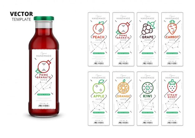 Свежий сок, реалистичная упаковка стеклянной бутылки Premium векторы