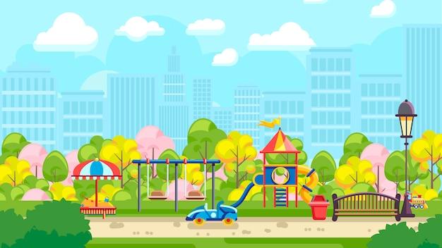 Яркой детской площадки в городе Premium векторы