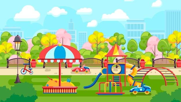 Иллюстрация городской детской площадки Premium векторы