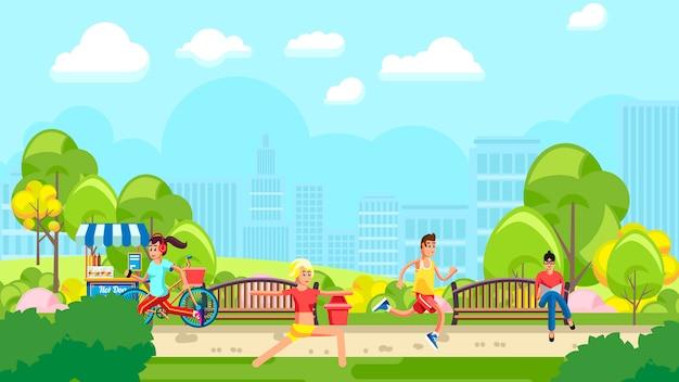 Красочный парк с обучением людей Premium векторы