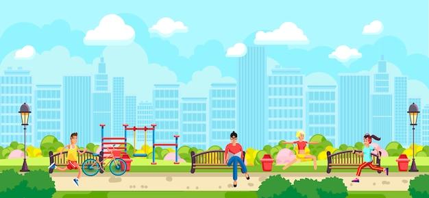 公園でスポーツをしている人々のフラットスタイル Premiumベクター