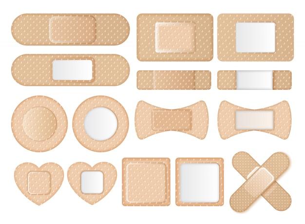 Коллекция различных форм ленточных пособий Premium векторы