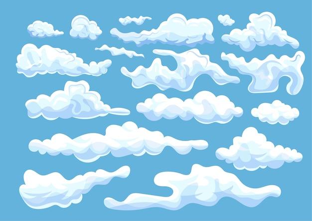 さまざまな形の白い雲のコレクション Premiumベクター